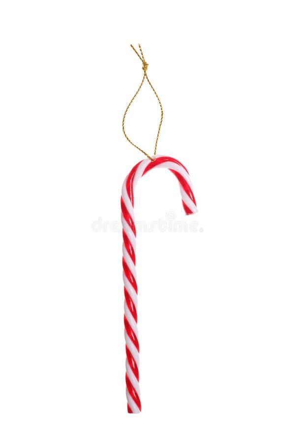 Bastoncino di zucchero di Natale isolato su fondo bianco con il includeC del percorso di ritaglio fotografia stock