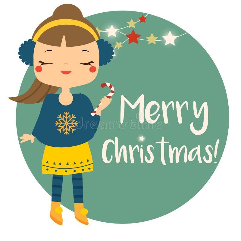 Bastoncino di zucchero sveglio della tenuta della ragazza di inverno L'insegna di Buon Natale per i bambini ed il nuovo anno dei  royalty illustrazione gratis