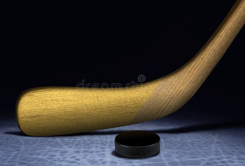 Bastone e disco di gomma di hokey del ghiaccio fotografia stock