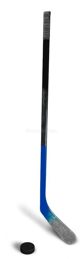 Bastone e disco di hockey su ghiaccio, isolati su trasparente fotografia stock libera da diritti
