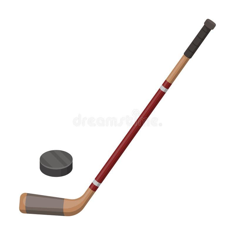 Bastone e rondella di hockey Singola icona del Canada nel web dell'illustrazione delle azione di simbolo di vettore di stile del  illustrazione di stock