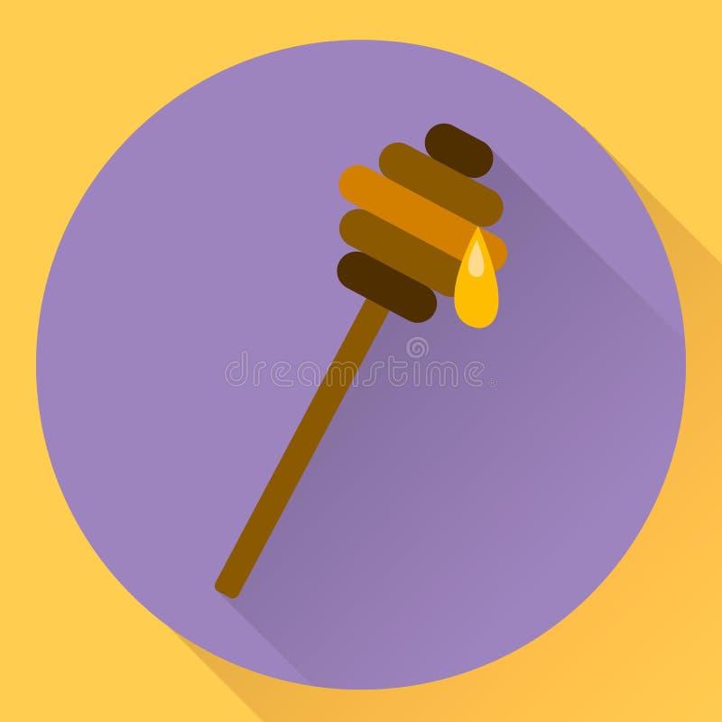Bastone piano dell'icona per miele illustrazione di stock