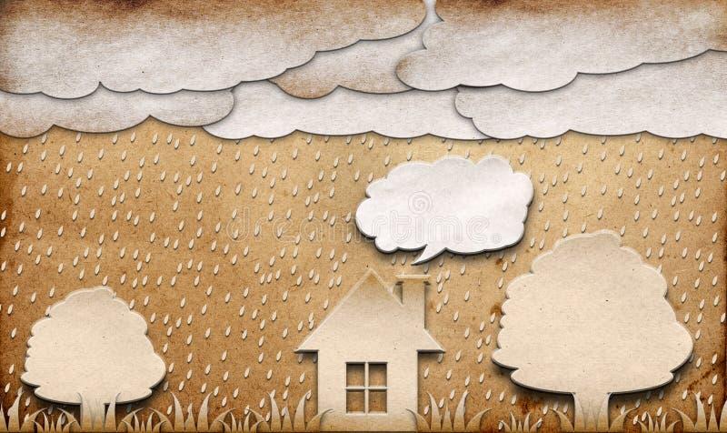 Bastone riciclato vista piovosa del mestiere di carta immagini stock