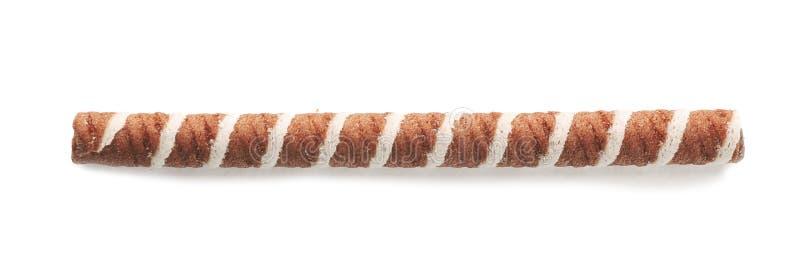 Bastone saporito del rotolo del wafer su fondo bianco, vista superiore fotografie stock libere da diritti