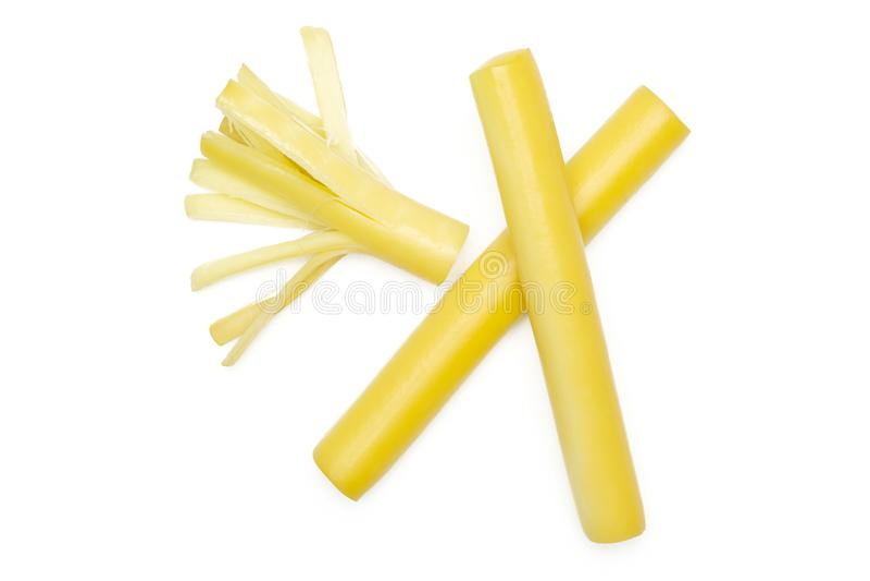 Bastone slovacco affumicato del formaggio di corda isolato su bianco immagini stock libere da diritti