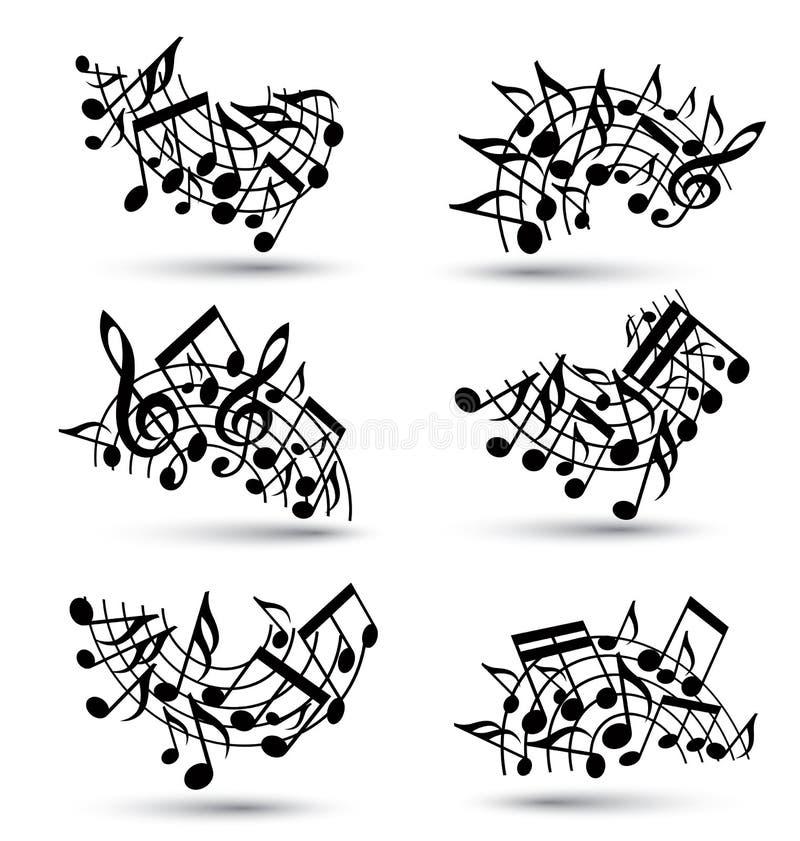 Bastones alegres negros del vector con las notas musicales ilustración del vector