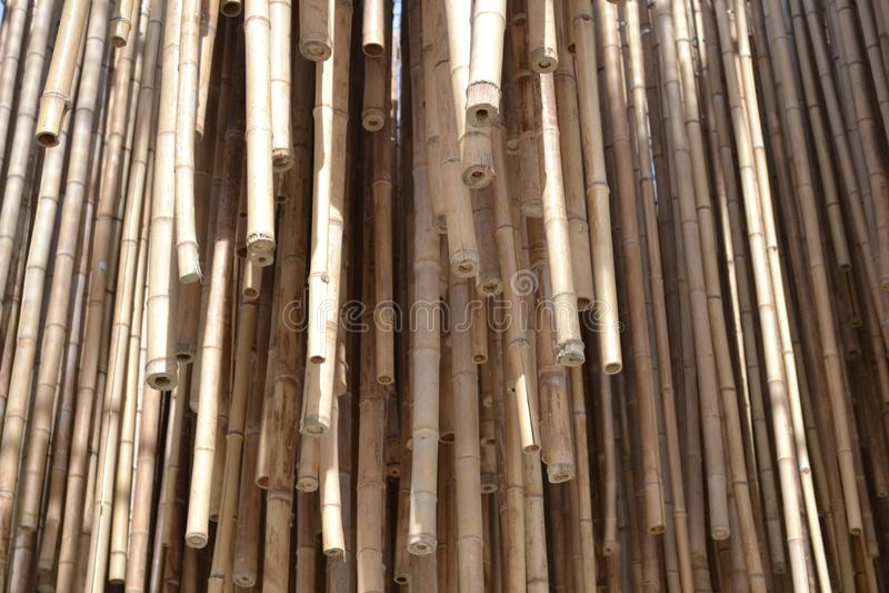 Bastones de bambú pendientes en un grupo grande de objetos recolectados juntos fotografía de archivo libre de regalías