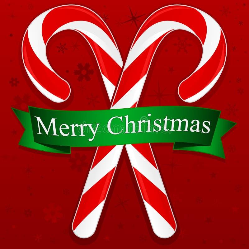 Bastones de caramelo de la Feliz Navidad stock de ilustración