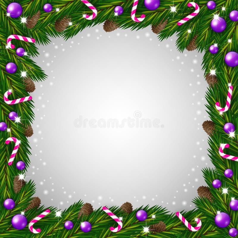 Bastones Del Marco Y De Caramelo Del árbol De Navidad Ilustración ...