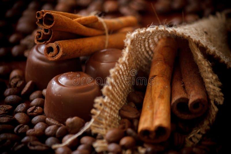 Bastoni & cioccolato di cannella fotografia stock libera da diritti