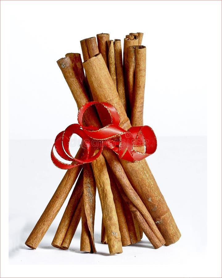 Bastoni di cannella verticali con l'arco rosso immagine stock
