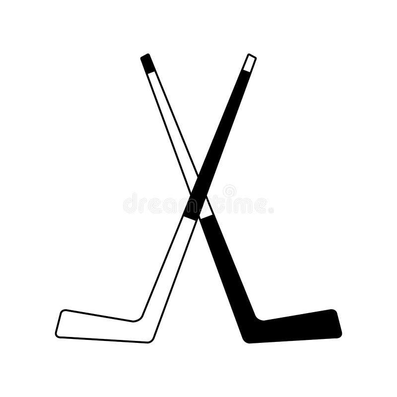Bastoni di hockey su ghiaccio in bianco e nero illustrazione vettoriale