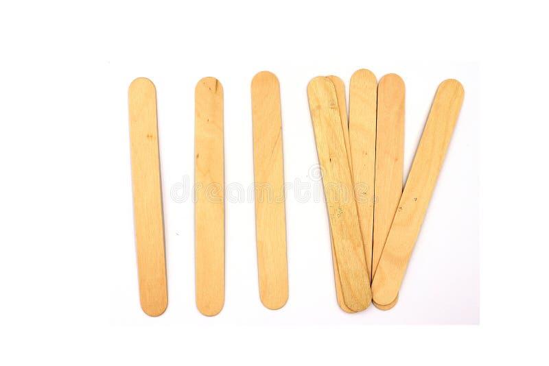 Bastoni di legno del gelato, bastone di legno del gelato isolato su fondo bianco fotografia stock