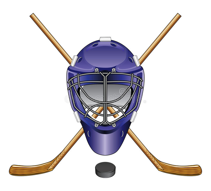 Bastoni e disco della maschera del portiere dell'hockey su ghiaccio illustrazione vettoriale