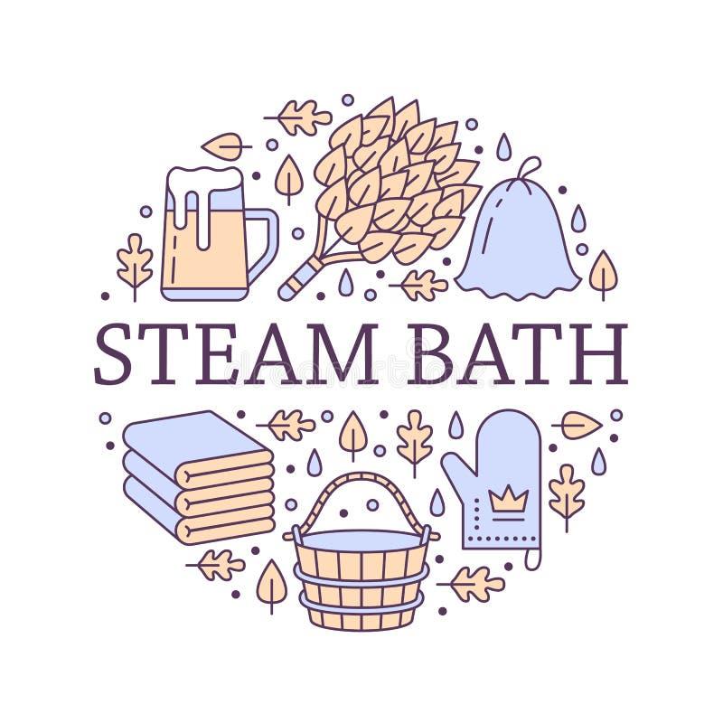 Bastu illustration för baner för rum för ångabad med den plana linjen symboler Badrumutrustningbjörk, ekkvast, hink, öl royaltyfri illustrationer