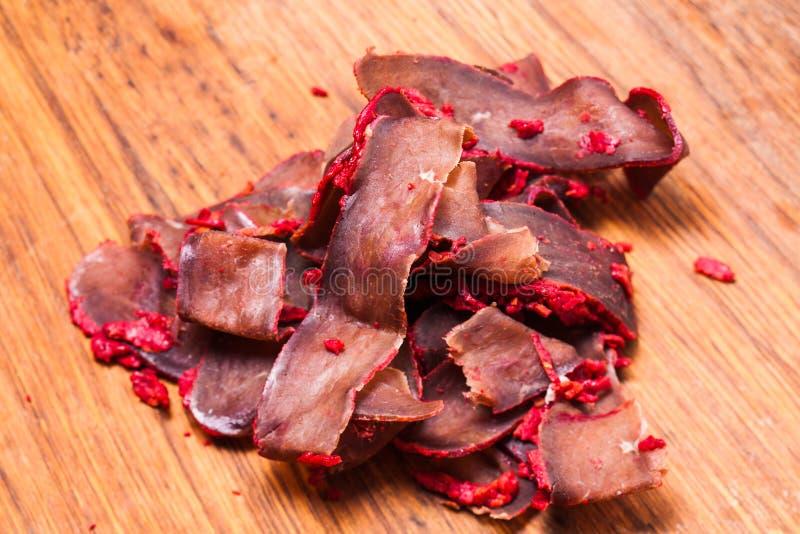 Basturma - carne secca carne di maiale fotografia stock