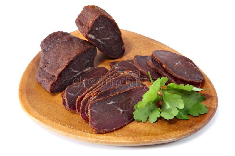 Basturma, raccordo secco della carne del manzo, incide le fette sottili immagini stock