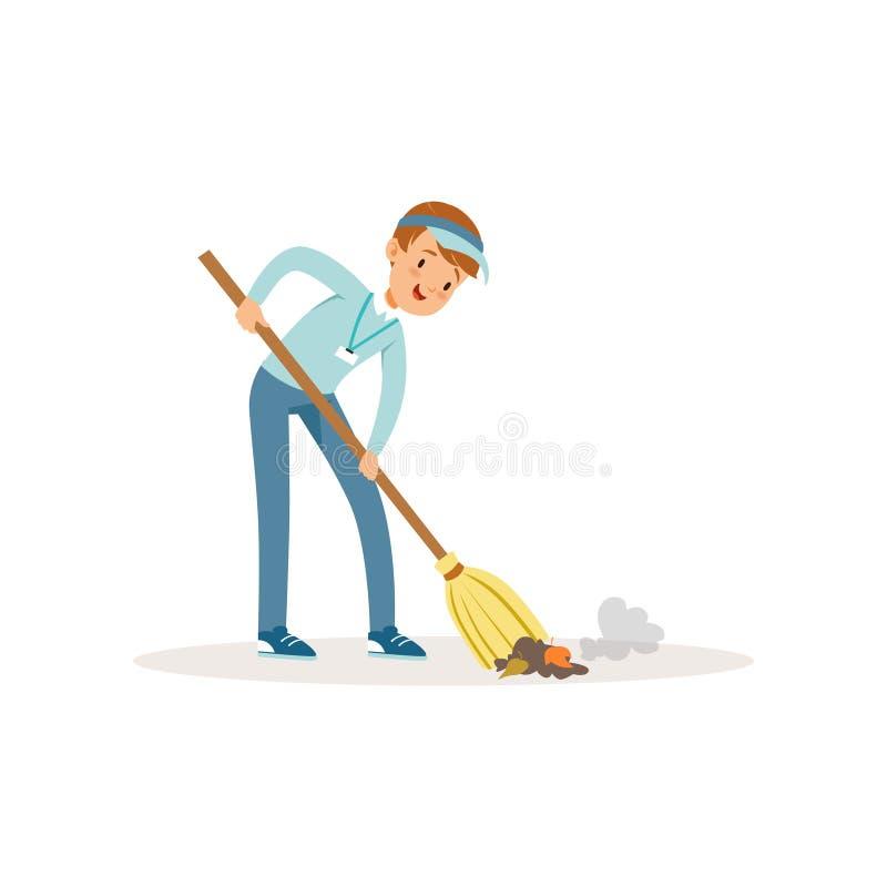 Basura arrebatadora del muchacho alegre usando la escoba Adolescente que lleva el casquillo azul, vaqueros y la camisa Basura de  ilustración del vector