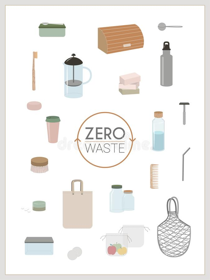 Basura cero, minimalismo, verde del eco - infographics stock de ilustración