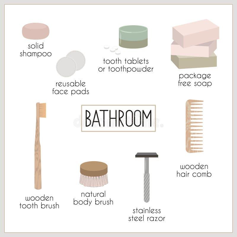 Basura cero y cosas reutilizables para el cuarto de baño ilustración del vector