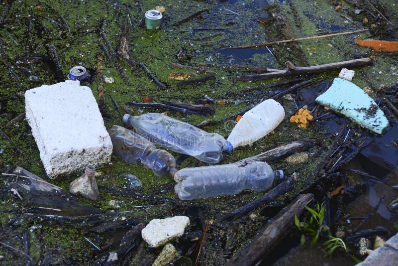 Basura como las botellas plásticas del animal doméstico, latas, taza de café, botellas de cristal lanzadas en el río fotografía de archivo libre de regalías