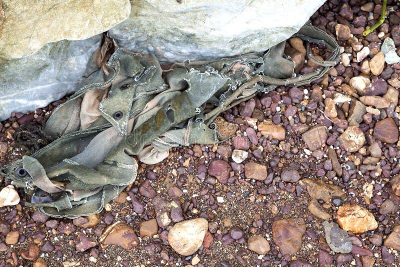 Basura de la materia textil en la playa rocosa fotografía de archivo