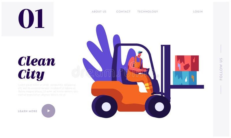 Basura de limpieza del colector del hombre a la página del aterrizaje del coche de los desperdicios El carácter recoge la basura  ilustración del vector