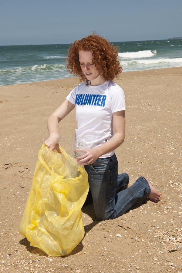 Basura de recogida voluntaria en la playa foto de archivo