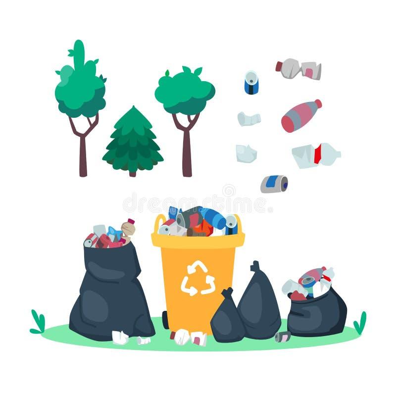 Basura en el basurero. Bote de basura y bolsos. Basura en el bosque Botellas de plástico y juncos. Tapón y árboles stock de ilustración