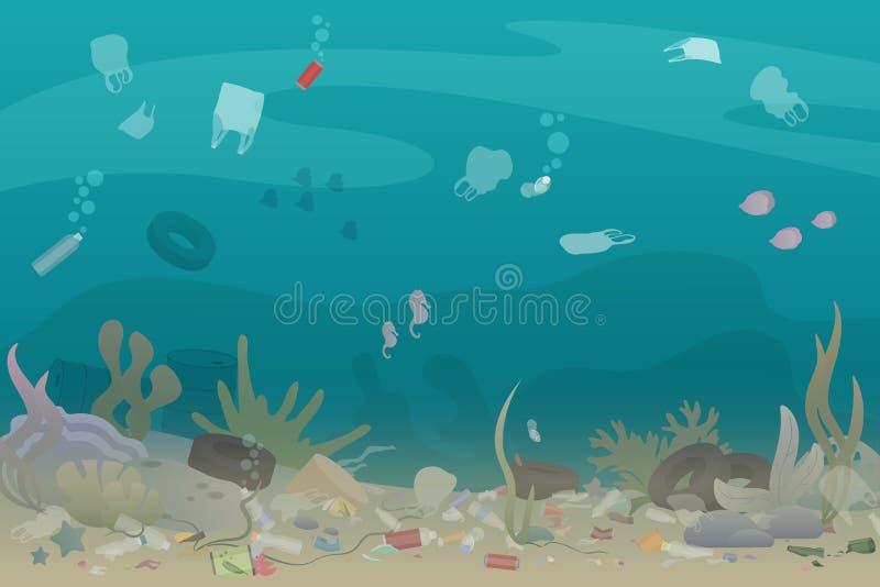 Basura plástica de la contaminación debajo del mar con los diferentes tipos de basura - botellas plásticas, bolsos, basuras Eco,  ilustración del vector