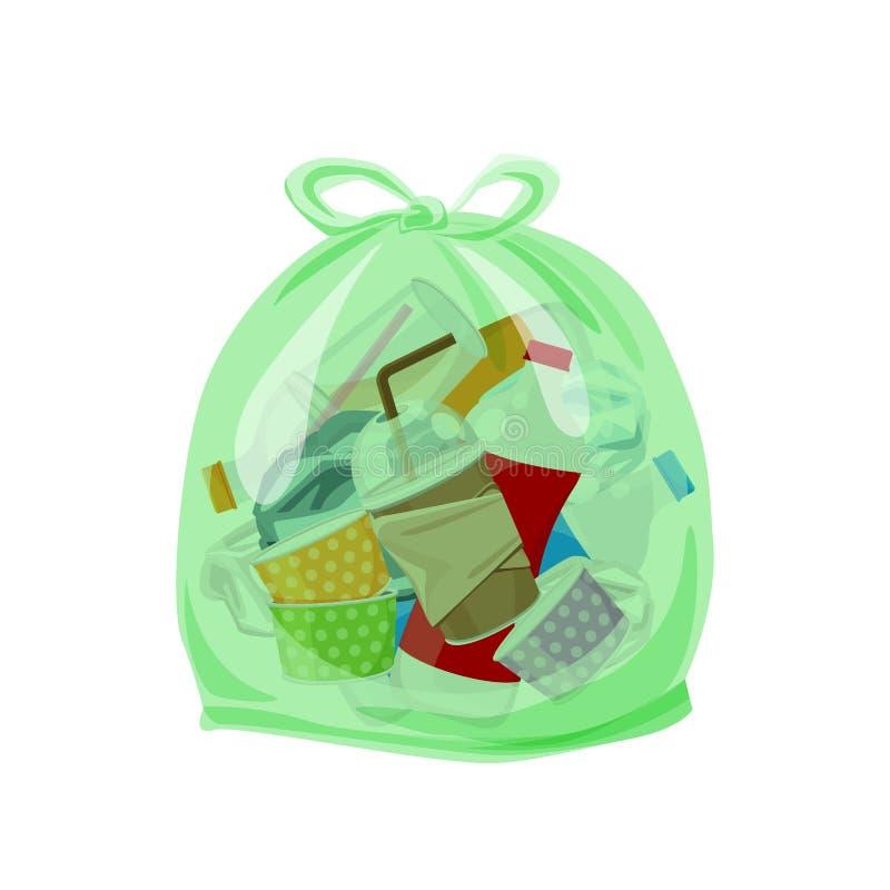 Basura plástica llena en las bolsas de plástico transparentes para el fondo aislado separación inútil de la casilla blanca, p ilustración del vector