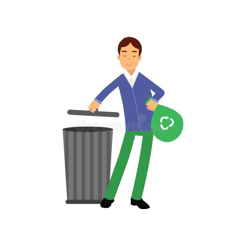 Basura que lanza en el tanque inútil, mundo ecológicamente limpio del personaje de dibujos animados feliz del hombre libre illustration