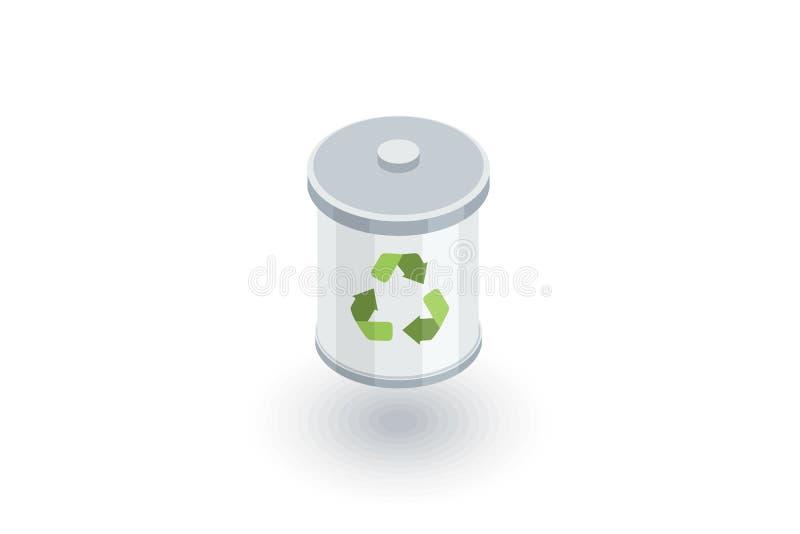 Basura que recicla el icono plano isométrico vector 3d ilustración del vector