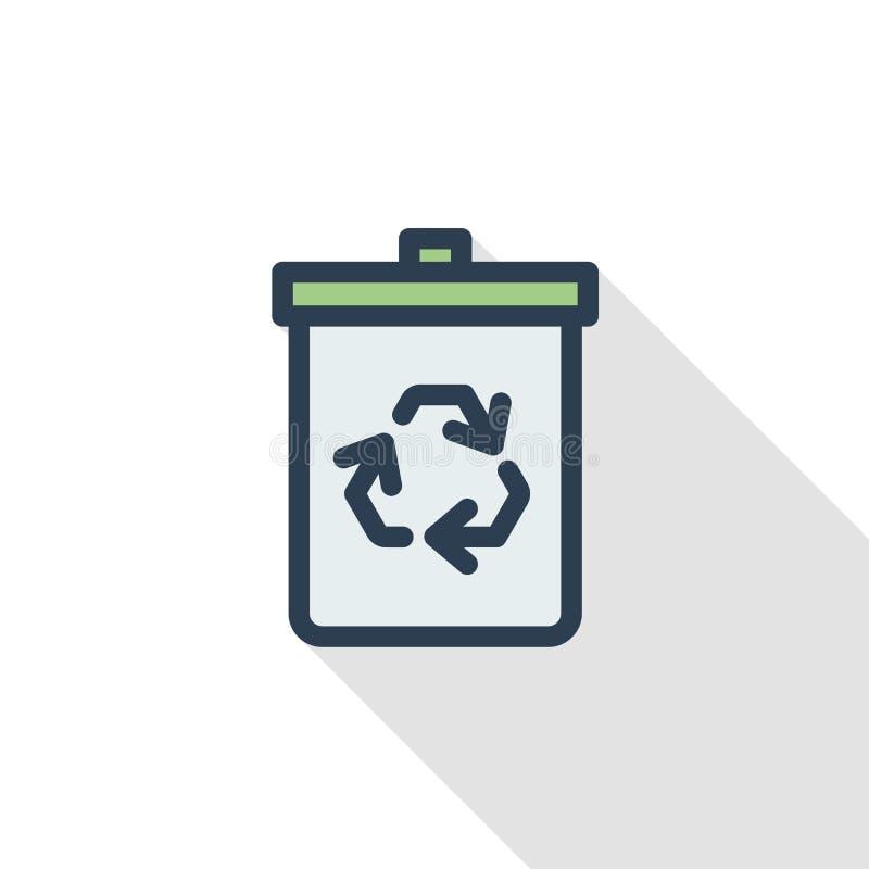 Basura que recicla la línea fina icono plano del color Símbolo linear del vector Diseño largo colorido de la sombra libre illustration