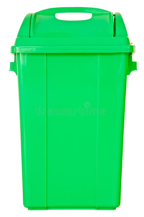 Basura verde en fondo blanco aislado fotos de archivo