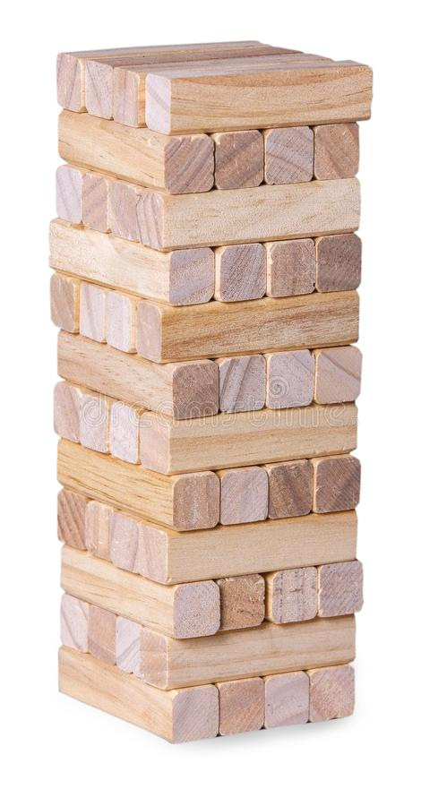 Basztowa sterta od drewnianej blok zabawki obraz royalty free