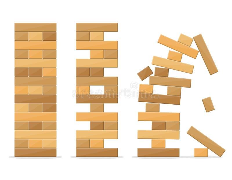 Basztowe gry dla dzieciaków i dorosłych na białym tle Drewniana blokowa sterty równowagi ryzyka łamigłówki zabawka Basztowa balan royalty ilustracja