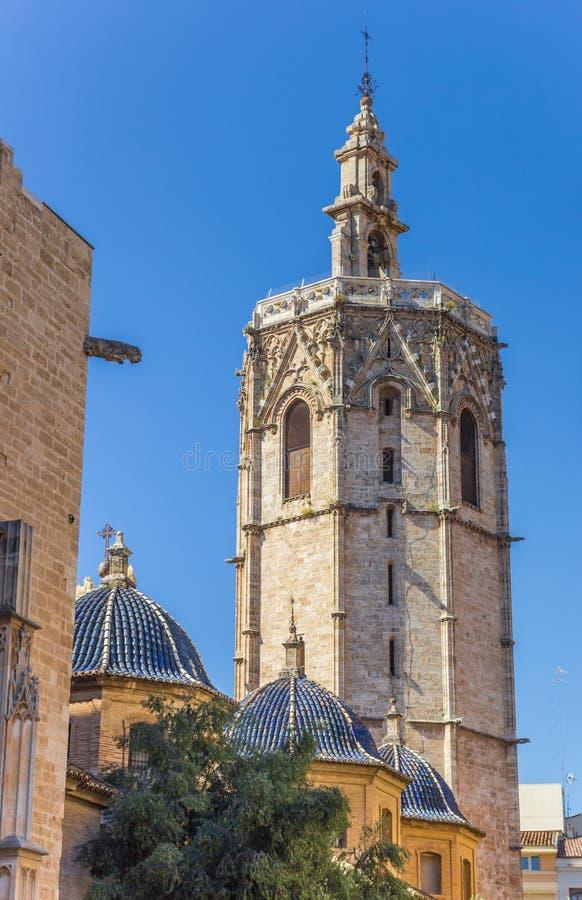 Basztowe i błękitne kopuły katedra Walencja obrazy royalty free
