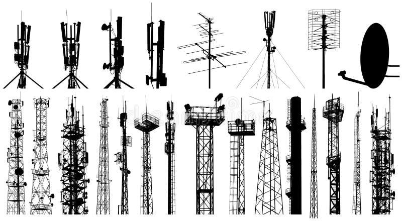 Basztowe radiowej anteny sylwetki ustawiać pojedynczy bia?e t?o ilustracja wektor