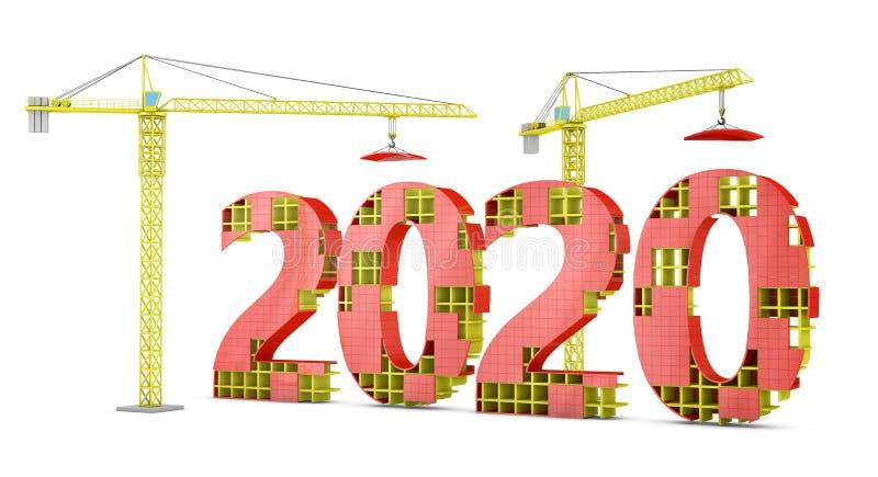 Basztowi żurawie buduje 2020 ilustracji