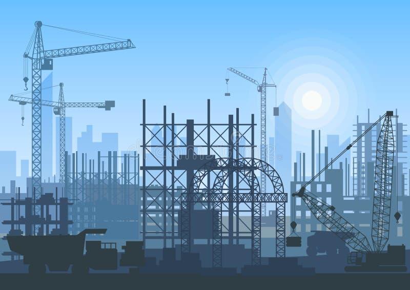 Basztowi żurawie na budowie Budynki w budowie ilustracja wektor