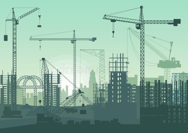 Basztowi żurawie na budowie Budynki w budowie royalty ilustracja