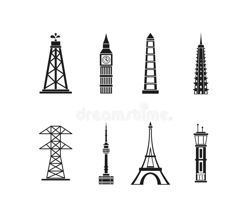 Basztowy ikona set, prosty styl ilustracji