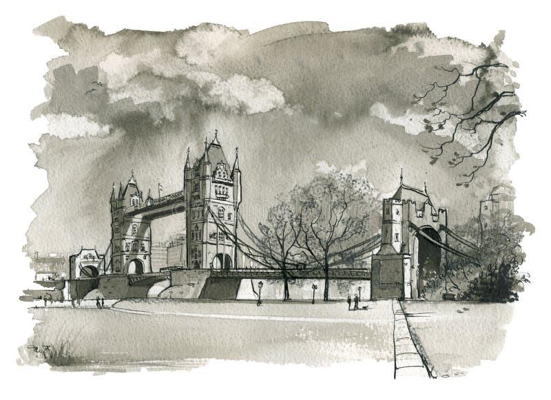 Basztowy most, Londyńska ilustracja royalty ilustracja