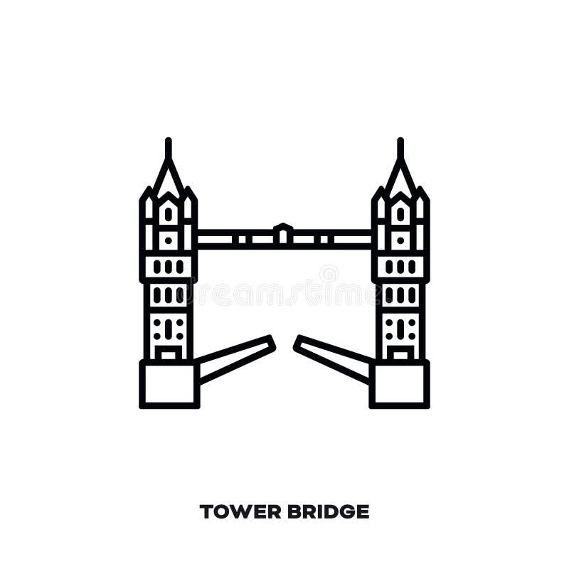 Basztowy most przy Londyn, Anglia, UK wektor linii ikona royalty ilustracja