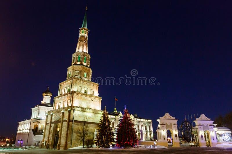 Basztowy Syuyumbike na terytorium Kazan Kremlin na nowego roku ` s wigilii fotografia royalty free