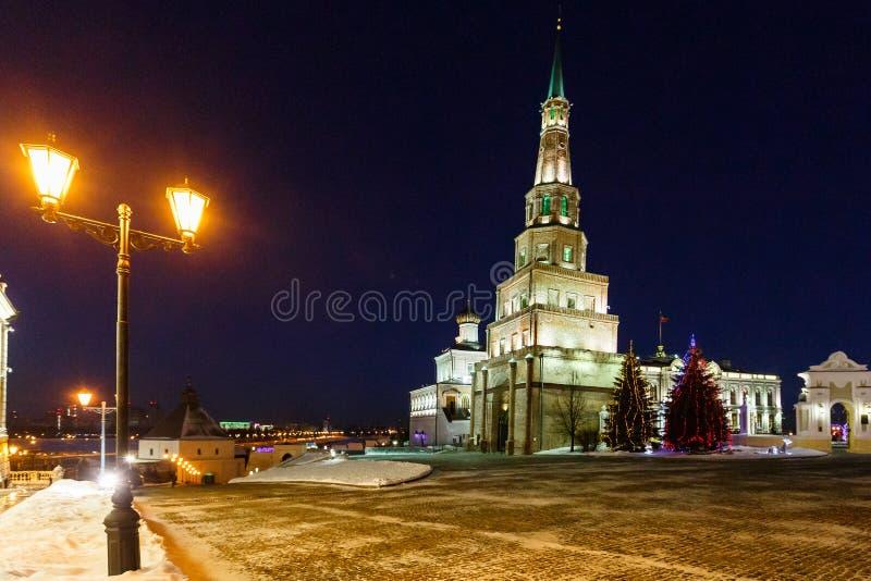 Basztowy Syuyumbike na terytorium Kazan Kremlin na nowego roku ` s wigilii zdjęcie stock