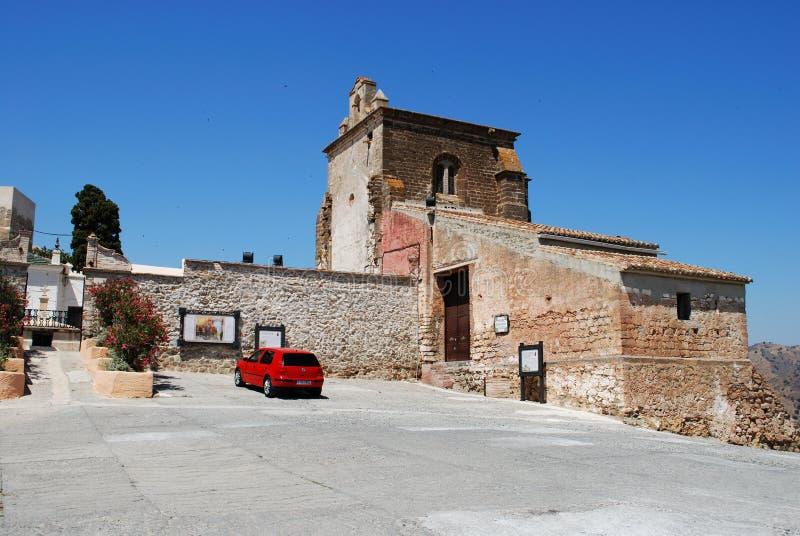 Basztowy wzgórze kościół, Alora fotografia stock