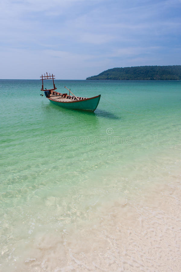 Boat at beautiful beach in Asia stock photo