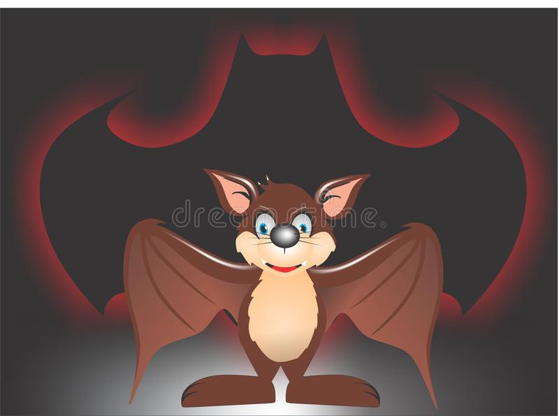 Bat. Cartoon character bat for t-shirt ,sticker,etc royalty free illustration
